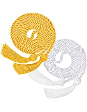Graduate Honor Cord, 2 Pcs Polyester Tassel Yarn Honor Cords for Graduation Student Photography (Yellow & White)