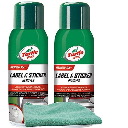 (Turtle Wax label & Sticker Remover (10 oz) Bundle with Microfiber Cloth (3 Items))
