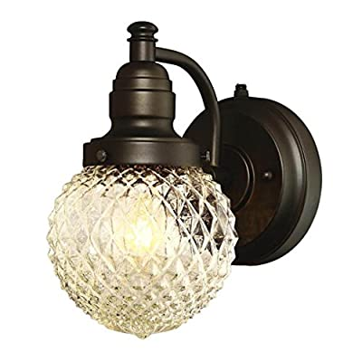 Westinghouse Lighting 6313700 Eddystone One-Light Outdoor Wall Fixture with Dusk to Dawn Sensor, Oil Rubbed Bronze Finish with Clear Diamond Cut Glass,