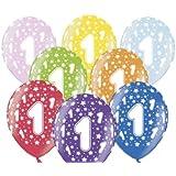 """SiDeSo® 10 Luftballons 12"""" Party Geburtstag Jahrestag (Zahl 1)"""