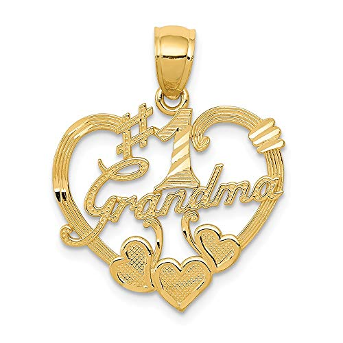 14k Yellow Gold #1 Grandma Heart Pendant Charm Necklace Grma Love S/love Message Fine Jewelry Gifts For Women For -