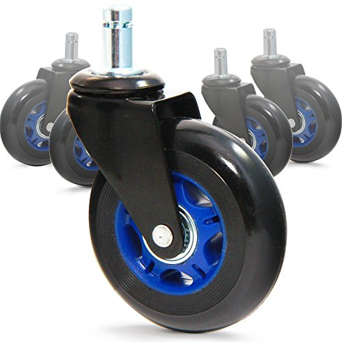 RevoSmooth Soft Rubber Office Chair Wheels Casters Replacement Rollerblade Style - For Hardwood Floor, Carpet, Gaming Caster Wheel (Set of 5) ()