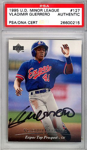 Upper Deck Certified Autograph Card - Vladimir Guerrero Signed 1995 Upper Deck Rookie Trading Card #127 Montreal Expos - Certified Genuine Autograph By PSA/DNA