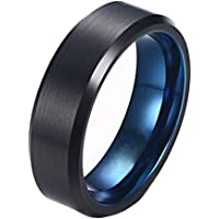 Classical Simple Polished Black and Blue Tungsten Men's Women's Wedding Band Ring 6mm Width Size 7-12