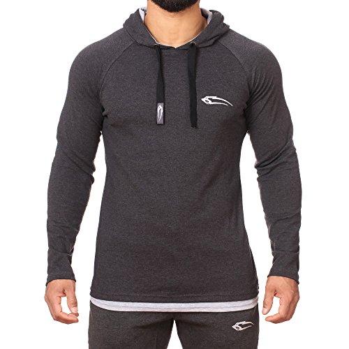 capuche Anthracite Slim Homme Pull à Pullover Shirt manches le Hoodie sport sport Leisure longues avec à Sports pour Smilodox Fitness Sweat de Sweat Fit Pull imprimé pn4qwtadY