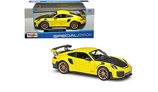 Amazon Com Starsun Depot New Porsche 911 Gt2 Rs Yellow With Carbon Hood 1 24 Diecast Model Car By Maisto Home Kitchen