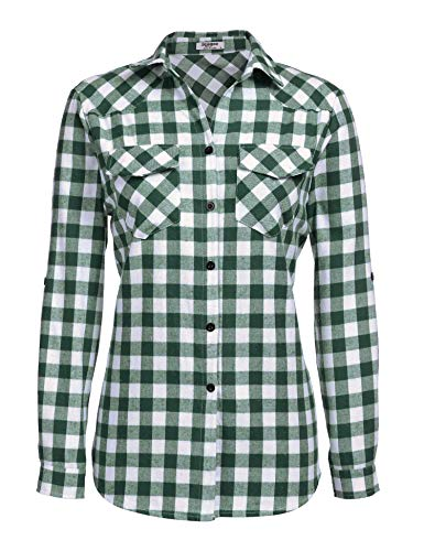 Checkered Button Up - Womens Tartan Plaid Flannel Shirts, Roll