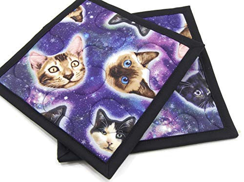 Cats in Space Pot Holders - Set of 2-8 Inch Square Cotton Fabric in Blue, Purple and Black