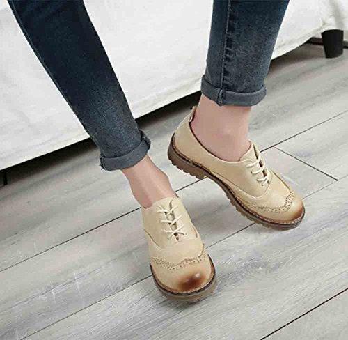 Easemax Moda Para Mujer De Punta Redonda De Corte Bajo Con Cordones Low Block Heel Oxfords Zapatos Beige