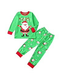 Veepola Toddler Baby Girls Christmas Santa Print Dresses Striped Pants Clothing Set