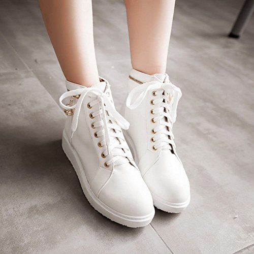 Carolbar Womens Lace up Fashion Comfort Casual Vintage British Style Zipper Flats Martin Boots White UYdVszURgh