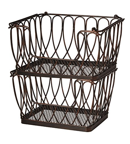 Pfaltzgraff Loop Wire Stacking and Nesting Basket, Antique Black