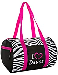 Horizon Dance Zebra Pattern Duffel Bag with Embroidered I Heart Dance Design