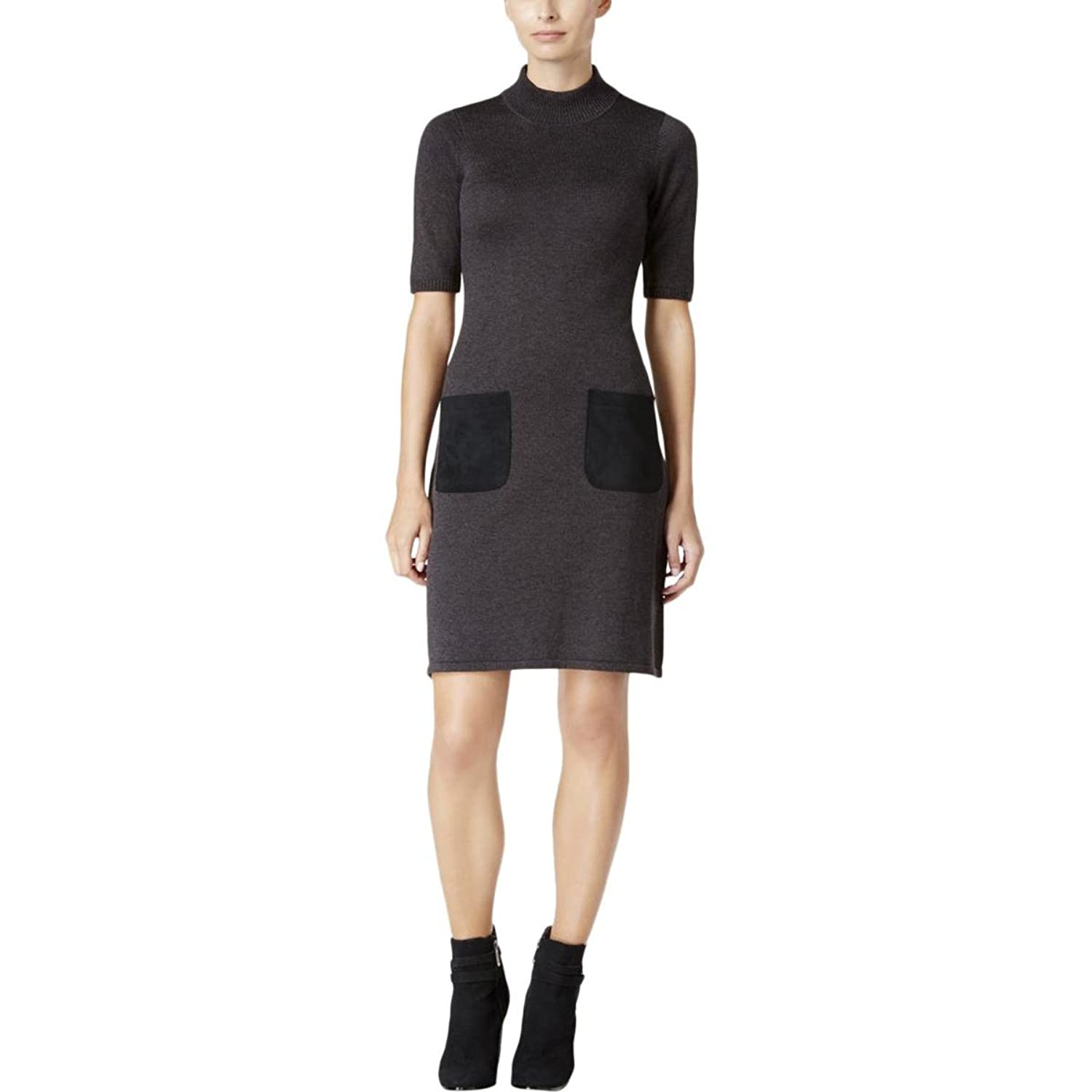 Calvin Klein Women's Short Sleeve Crew Neck Sweater Dress With Suede Parch Pockets for sale