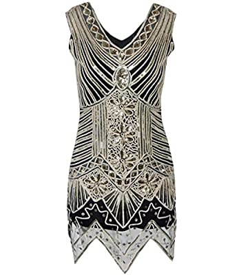 Fayesmiling Women's 1920s Sequin Mini Dress Flower Edge Great Gatsby