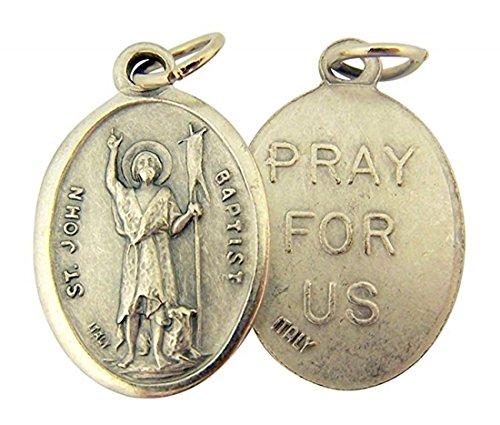 Silver Toned Base Saint John the Baptist Medal, 1 Inch, Set of 2 (Was John The Baptist The Last Prophet)