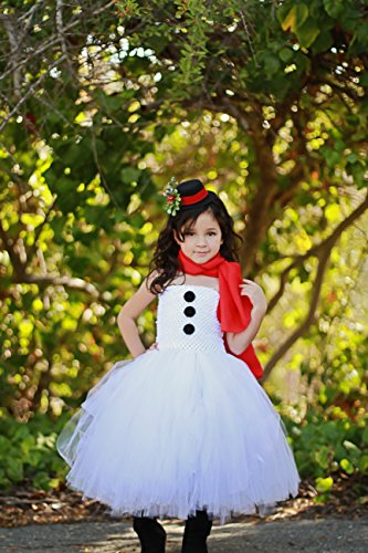 [Girls Snowman Costume Dresses with Red Scalf and Top Hat Headband (Small (1-2 Yrs))] (Snowman Costume Hat)