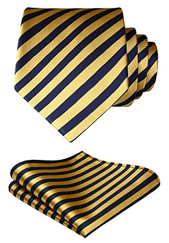 SetSense Men's Stripe Jacquard Woven Tie Necktie Set 8.5 cm / 3.4 inches in Width Yellow / Navy (Yellow Stripe Tie)