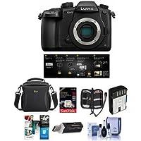 Panasonic Lumix DC-GH5 Mirrorless Camera Body, Black V-Log L Function Firmware Upgrade Kit - Bundle 16GB SDHC U3 Card, Spare Battery, Camera Case, Cleaning Kit, Memory Wallet More