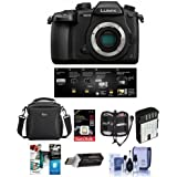 Panasonic Lumix DC-GH5 Mirrorless Camera Body, Black V-Log L Function Firmware Upgrade Kit - Bundle 16GB SDHC U3 Card, Spare Battery, Camera Case, Cleaning Kit, Memory Wallet More