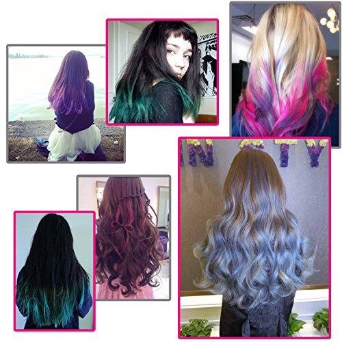 Temporary Bright Hair Chalk Set - Kalolary Metallic Glitter for All Hair Colors- Built in Sealant,For Kids Hair Dyeing Party and Cosplay DIY, 6 Colors by Kalolary (Image #8)