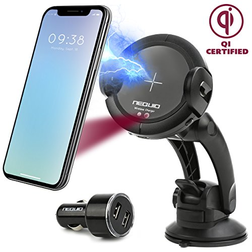 Wireless Charger Car Mount with Infrared Sensor - Dashboard, Air Vent or Windshield Cell Phone Holder for iPhone X, 8/8 Plus, Samsung Galaxy Note 9/8, S9/S8/S7/S6 Edge and other Qi-Enabled Phones -