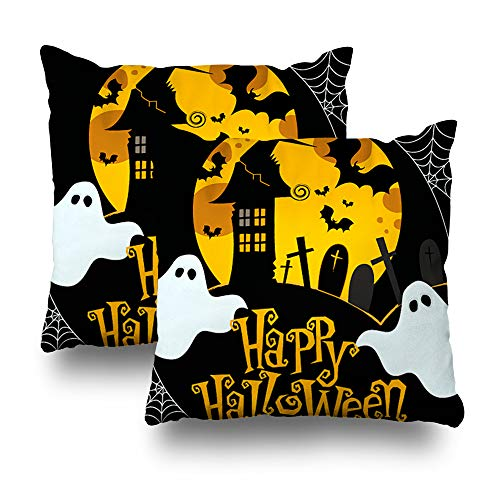 Alricc Set of 2 Cute Halloween DecorativeThrowPillowsCushionCoverforBedroomSofaLivingRoom18X18Inches -
