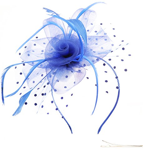 FM Womens Fascinator Hats for Cocktail Tea Party Fascinator Hats for Women (blue) ()