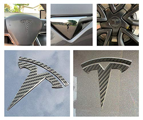 - Custom Cut Graphics Tesla Model 3 Logo Decal Wrap (Carbon Fiber Black)