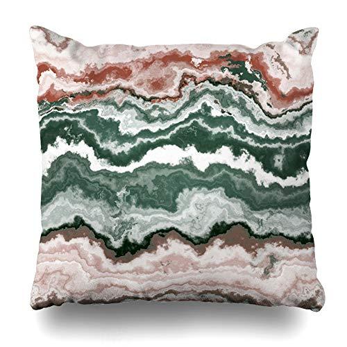 Ahawoso Throw Pillow Cover Crystal Green Agate Gem Stone Pattern African Jewel Nature Aluminosilicate Batu Botswana Brazilian Home Decor Pillowcase Square Size 16