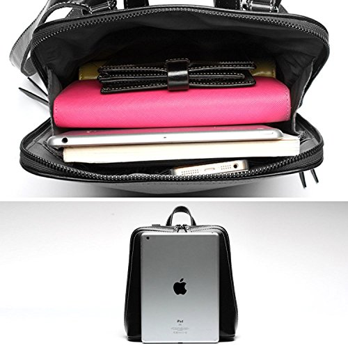 Black Genuine grey Leather Onenice Shoulder Womens Backpack bag xYwF0qT