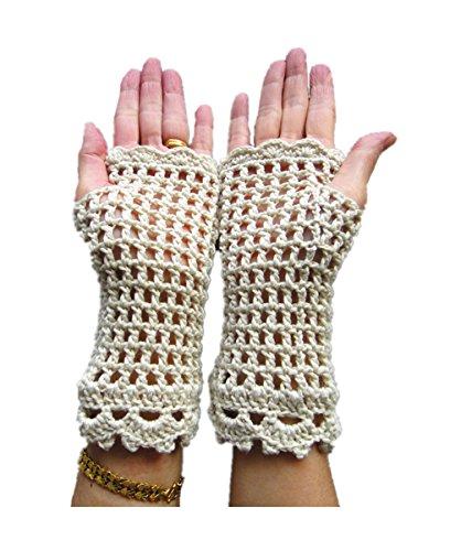 Tinacrochetstudio? Crochet Fingerless Gloves Custom Elbow Length Mitness Medium Beige