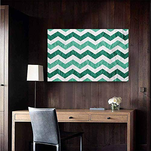duommhome Modern Abstract Painting Pastel Chevrons Peru Zigzag Lines in Green Toned Geometric Contemporary Natural Art 24