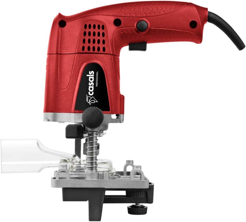CASALS FC14 Red FC14 - Fresadora perniadora, 430 W, 26.000 RPM, Pinza 6 mm, Recorrido Vertical 0-30 mm, Adaptador para Extractor de Polvo, Roja