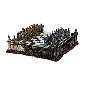 "17"" Fantasy Good Vs. Evil 3D Chess Set, Bronze & Silver Tone"