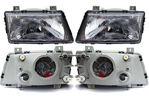 - Saab 900 1986-93 European E-code Headlight with Glass Lens Set of 2 9120148 9120130
