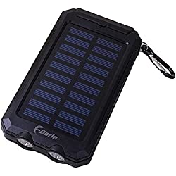 F.Dorla 20000mAh Power Bank Solar Charger Waterproof Portable External Battery USB Charger Built in LED light with Compass for iPad iPhone Android cellphones, 9 Colors Avaliable (Black)