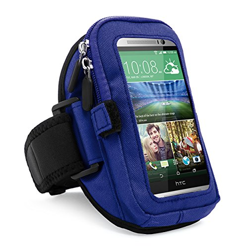 VanGoddy zippered Sport Case Cover Gym Running with removable strap Armband with card & key slot for HTC One Max / M8 / M7 / BlackBerry Z10 (Blue)