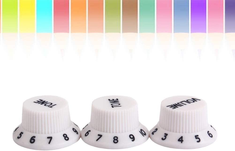 SUPVOX 3 PCS//Set Plastic Top Hat Guitar Volume Tone Control Knobs Rotary Knobs for Strat Style Guitar White