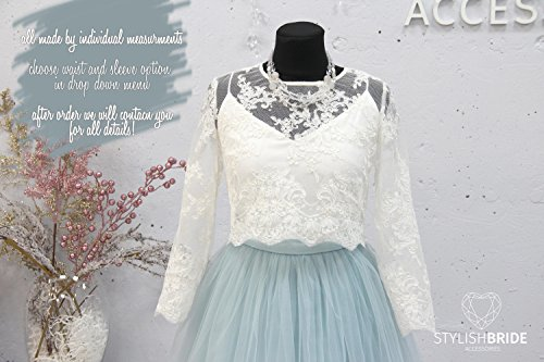 59bf4b54aabf1 Short Dusty Blue Belle Dress Tulle Set Lace Crop Top with Sleeves and Tulle  skirt long