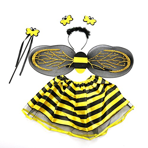 4-Pack Girls Kids Bumble Bee Costume Set Bee Wing Fairy Wand Tutu Skirt Headband Fancy Dress Up Party Costume]()