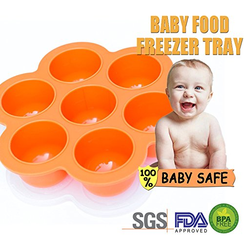 Reusable Silicone Baby Food Storage Containers for Stage, Best Freezer Trays for Homemade Baby Food With Clip on Lid, BPA Free FDA Approved (Orange) Multiportion 7 Cup x 2.6 Ounce - Made in China