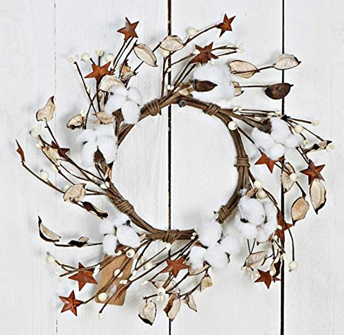 Rings Candle Berry Star - JMB Autumn-Christmas Cotton Ball, Leaves, Pip Berries, and Metal Stars Buyers' Choice of Garland OR Candle Ring (10