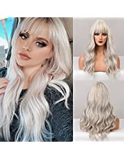 BOGSEA Omber Wig with Bangs long Wave Wigs for Women Synthetic Wig Natural Looking Hair for Daily Use 24 Inch
