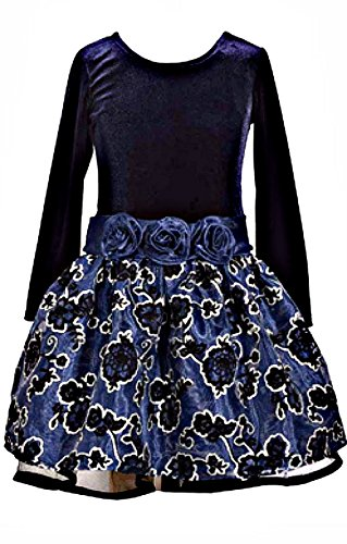 Bonnie Jean Girls Adorable Velvet Navy Drop Waist Flower Dress (6)