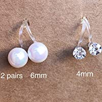 2 Pairs Invisible Clip on Pearl Stud Earrings for Non-pierced Ears - Dainty 6mm Round Shell Pearls and 4mm Clear Glass Rhinestone Clip-ons Earring Sets