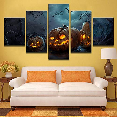 TLLZSH Modern Wall Decoration Painting High-Definition Printing Art Painting Frameless Painting Suitable for Living Room Bedroom (5Pcs/Set Halloween Pumpkin) M -