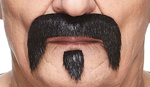 Redneck Facial Hair (Mustaches Self Adhesive Fake Mustache, Novelty, The Zappa False Facial Hair, Costume Accessory for Adults, Black Lustrous)