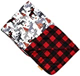 Dear Baby Gear Deluxe Baby Blankets, Custom Minky Print Reversible Moose Tree and Red Black Plaid, 38 Inches by 29 Inches