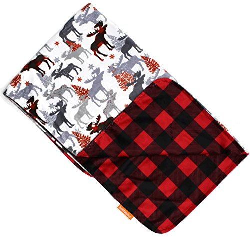 (Dear Baby Gear Deluxe Baby Blankets, Custom Minky Print Reversible Moose Tree and Red Black Plaid, 38 Inches by 29 Inches)